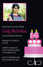 Pink 16th Candles Birthday Photo Cards