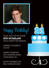 Blue 21th Candles Birthday Photo Cards