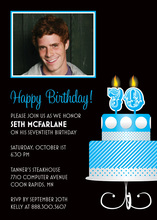 Blue 70th Candles Birthday Photo Cards