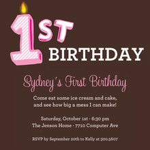 My First Birthday Pink Invitation