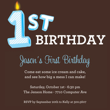 My First Birthday Blue Invitation
