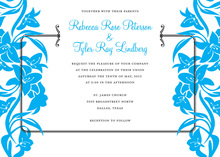 Blue Side Vintage Bridal Bouquet Shower Invitations