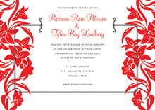 Red Side Bouquet Bridal Shower Invitations