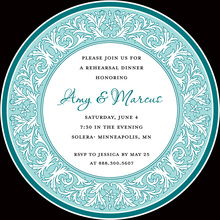 Blue Decorative Plate Rehearsal Dinner Invitations