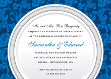 Classic Blue Silver Plate Rehearsal Dinner Invitations