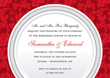 Premium Elegant Red Silver Plate Dinner Invitations