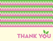 Pink-Green Leaves Thank You Cards