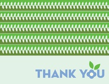 Modern Green Leaves Thank You Cards