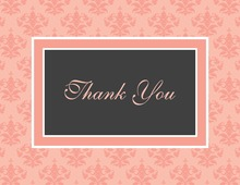 Modern Damask Pink Thank You Cards