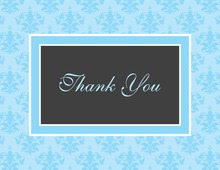 Modern Damask Blue Thank You Cards