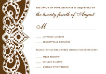 Embellished Vine Brown RSVP Cards
