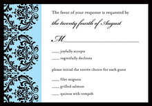 Modern Blue Ochre Damask RSVP Cards