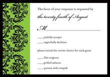 Modern Green Ochre Damask RSVP Cards