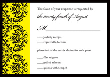 Modern Yellow Ochre Damask RSVP Cards