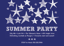 Blue Stars Summer Party Invitation