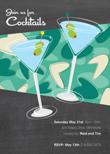 Two Blue Modern Cocktails Birthday Party Invitations
