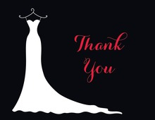 Red Gown Dresses Thank You Cards