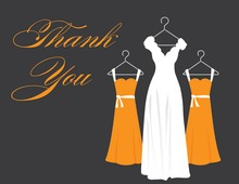 Orange Background Dresses Thank You Cards
