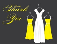 Yellow Background Dresses Thank You Cards