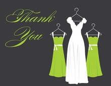 Green Background Dresses Thank You Cards