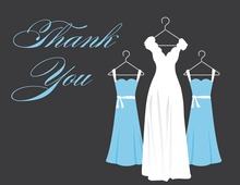 Blue Background Dresses Thank You Cards