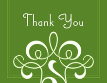 Classic Flourish Green Thank You Cards