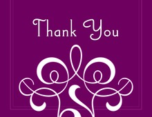 Classic Flourish Purple Thank You Cards