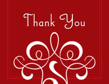 Classic Flourish Red Thank You Cards