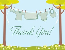 Clothes Green Gender Neutral Thank You Cards