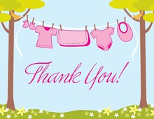 Clothes Baby Girl Thank You Cards