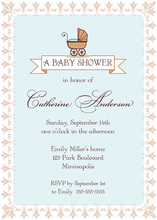 Flourish Border Blue Invitation