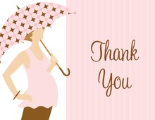 Umbrella Dots Girl Thank You Cards