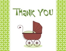 Modern Green Carriage Thank You Cards