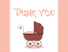 Modern Pink Carriage Thank You Cards