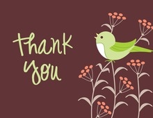 Modern Green Song Bird Thank You Cards