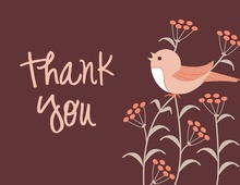 Modern Pink Song Bird Thank You Cards