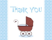 Modern Blue Carriage Thank You Cards