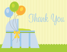 Three Baloons Blue Thank You Cards