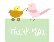 Mama Bird Green Thank You Cards