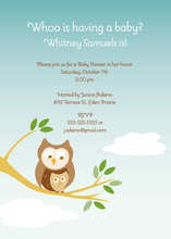 Owl On Branch Boy Invitations