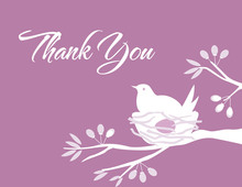 Bird on nest Lavender Thank You Cards