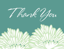 Stylish Flower Green Thank You Cards