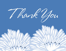 Stylish Flower Blue Thank You Cards