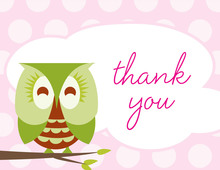 Sleepy Owl Pink Thank You Cards