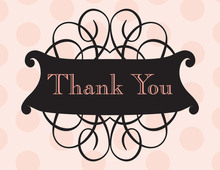 Antique Flourish Pink Thank You Cards