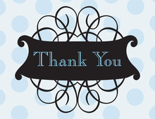 Antique Flourish Blue Thank You Cards