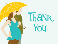 Couple With Umbrella Thank You Cards