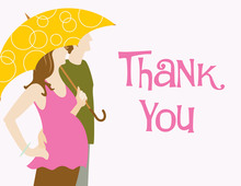 Couple With Umbrella Pink Thank You Cards