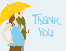 Couple With Umbrella Blue Thank You Cards
