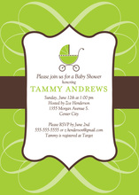 Modern Scroll Green Invitation